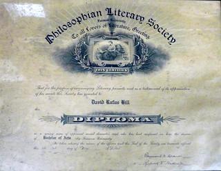 D. R. Hill Diploma from Furman University
