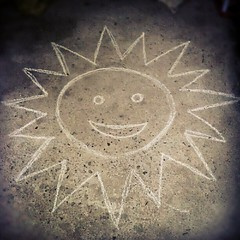 When I was a child. My playmates and I would start drawing the image of the sun on the street to make the rain stop.  Today, after hearing neck deep floods and the 24 hour non-stop rains, I remember to summon my inner child and draw a sun outside. I invit