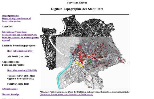 """ROMA ARCHEOLOGIA: Prof. Chrystina Häuber, Digitale Topographie der Stadt Rom [Digital topografia della città di Roma] (2012). """"...Horti Sallustiani (2012) & Horti Maecenatiani (2009-2011)."""" by Martin G. Conde"""