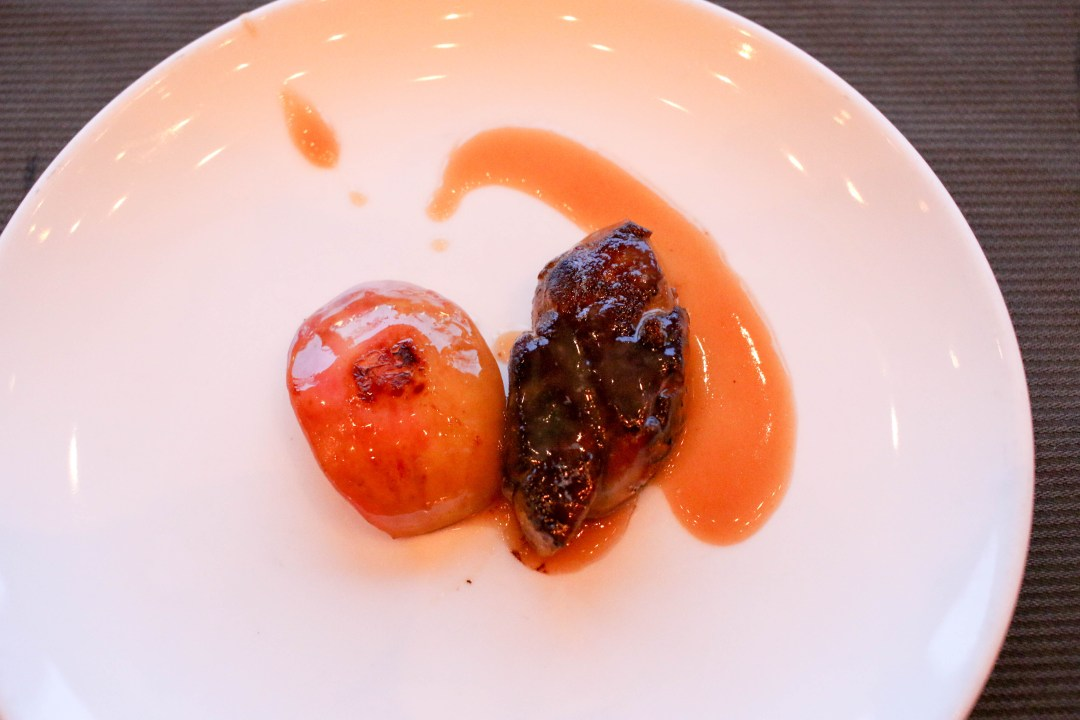 Foie gras paired with peach