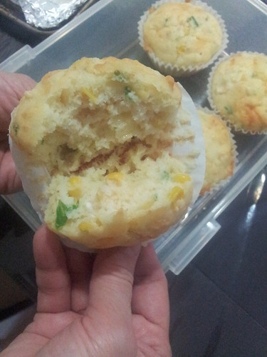Cheese corn and chive muffins