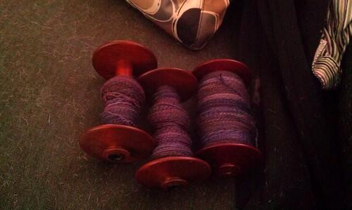 Three bobbins with plied fiber! by Miss Knotty