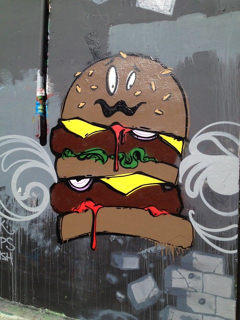 Hamburger graffiti artwork, Osage Street