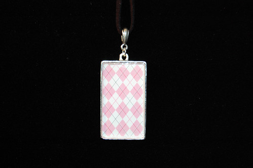 Pink and White Argyle Pendant