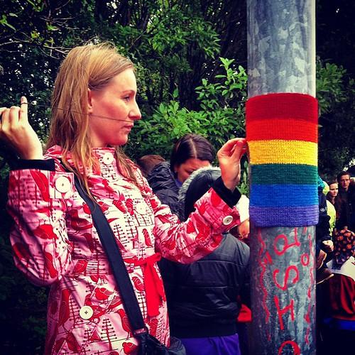 #gaypride #yarnbombing #yarngraffiti #yarnstorming #crochet