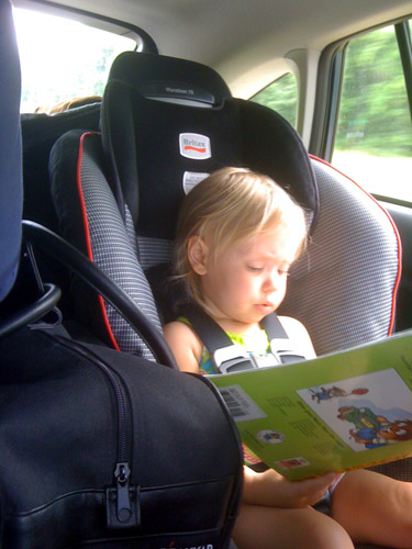 The child fell asleep in the last 10 minutes of the 3+ hour drive