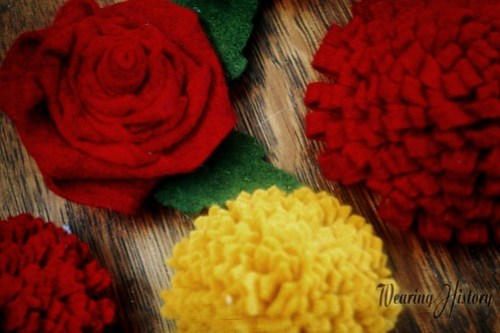 felt flower brooches and hair ornaments