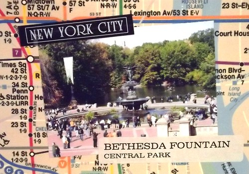 Handmade Postcard: The Bethesda Fountain in Central Park, NYC