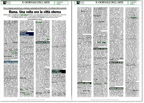 ROMA ARCHEOLOGIA: 'ROMA. UNA VOLTE ERA LA CITTA` ETERNA' - Prima indagine nazionale per catalogare i principali probleme delle citta` Italiane. Quarta puntata. IL GIORNALE DELL` ARTE (01/09/2012), p. 4. by Martin G. Conde