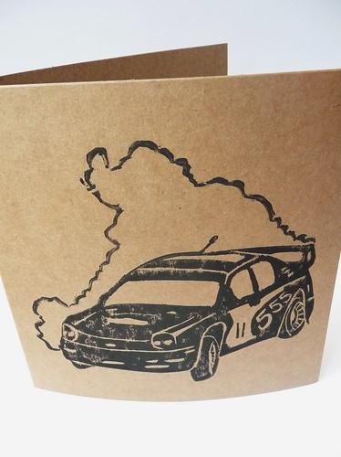 Rally Car Linocut Print