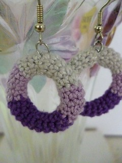 Crochet Purple and Grey Colourblock Hoop Earrings