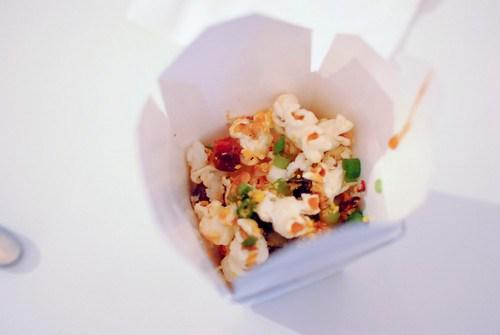 Andre Bienvenu (Joe's Stone Crab) popcorn with lobster, shrimp, crab, pork belly; seared ahi with merlot sugar