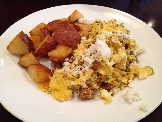 El Salvadorian style chorizo eggs scramble - The WestWood