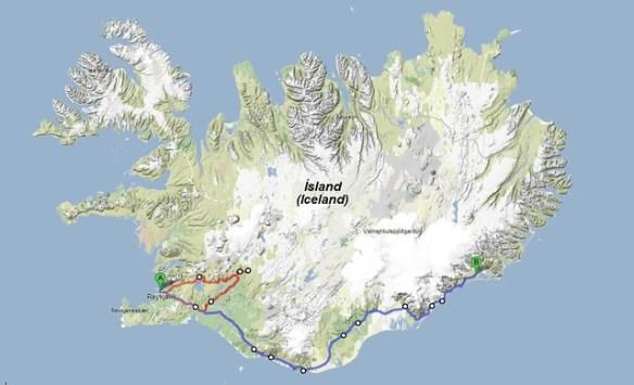 Mapa con Rutas - Islandia