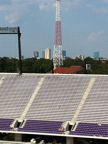 Gorgeous view of downtown Fort Worth from upper deck of stadium