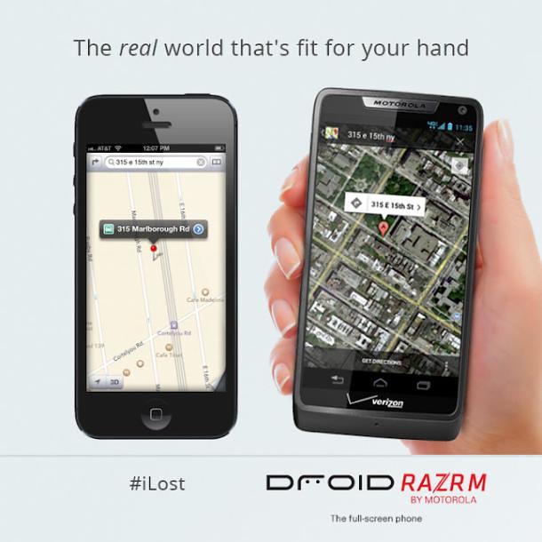 Iklan promosi Motorola Droid Razr M yang mengejek aplikasi Apple Maps di iPhone 5