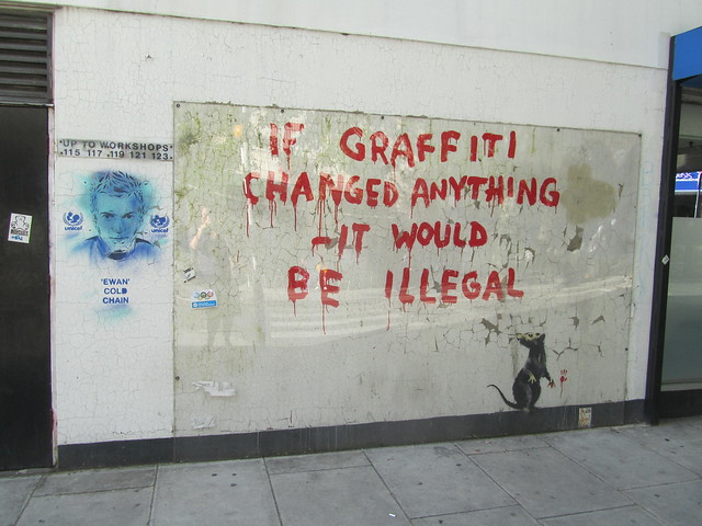 DON's Ewan next to Banksy, Clipstone Street