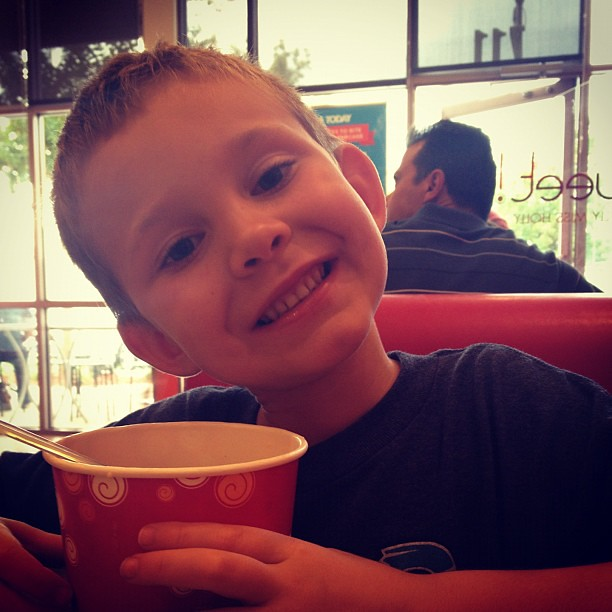 The best part of back-to-school shopping: hanging with this guy + froyo