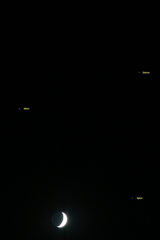 Mars Saturn Spica and Waxing Crescent Moon