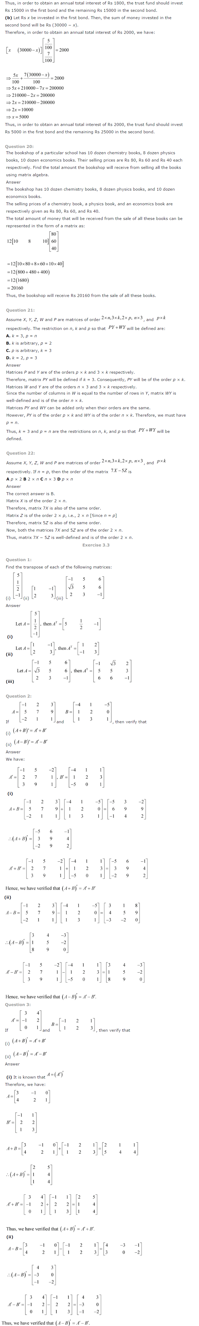 NCERT Solutions for Class 12 Maths Chapter 3 Matrices ex 3.6