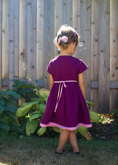 grape dress and strawberry backpack