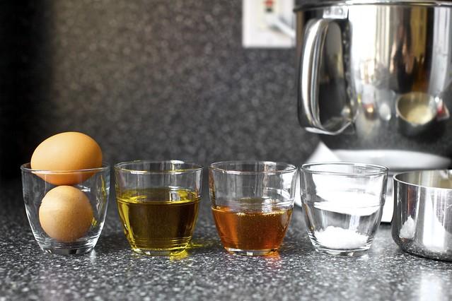 eggs, olive oil, honey, sea salt, yeast