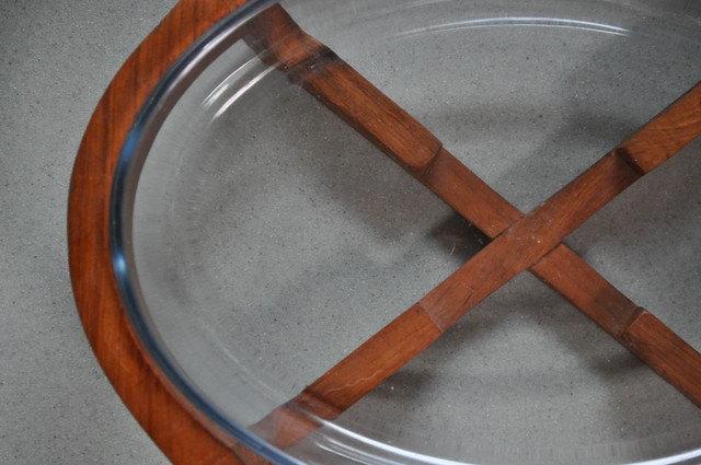 Teak and Glass Serving Dish