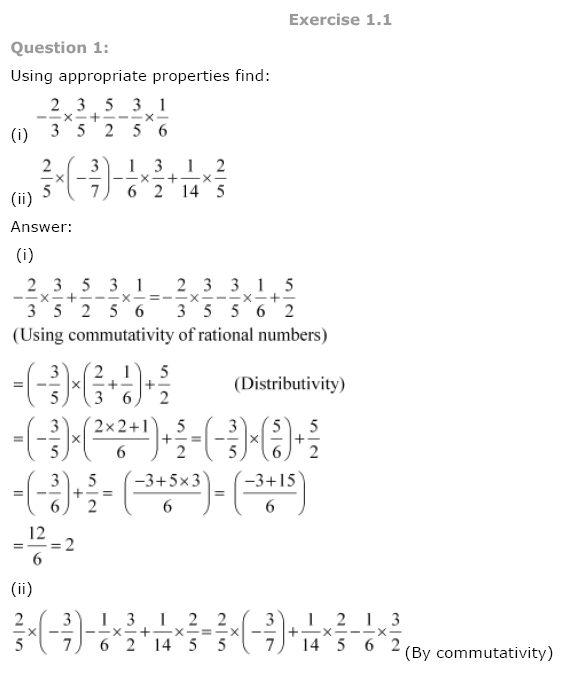 NCERT Solutions For Class 8th Maths Ch 1 Rational Numbers PDF Download