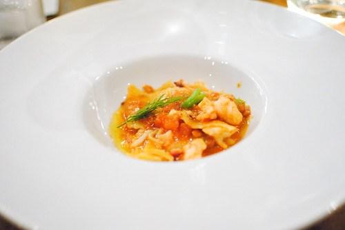 maltagliati di polenta lobster amatriciana sauce