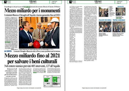 TERREMOTO SISMA L'AQUILA: Mezzo miliardo fino al 2012 per slavare i beni culturali. IL MESSAGGERO ABRUZZO (23/09/2012), P. 47. by Martin G. Conde