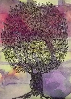Handmade Card: Hand-drawn tree on laser printed background