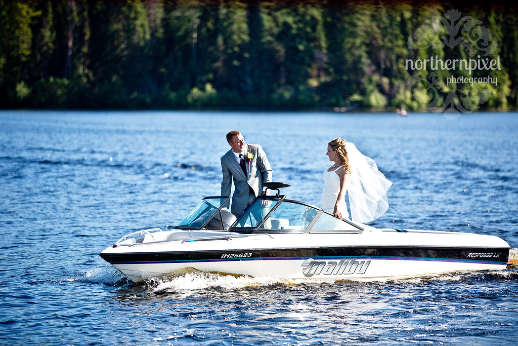 Newlyweds at Norman Lake BC