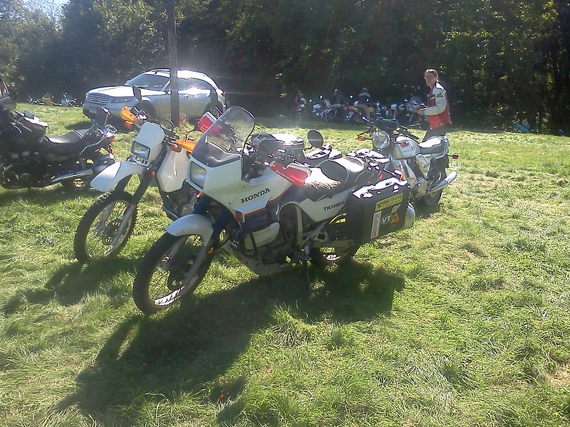 Parking the XL600V (Honda Transalp) and DR350SE (aka Garda)