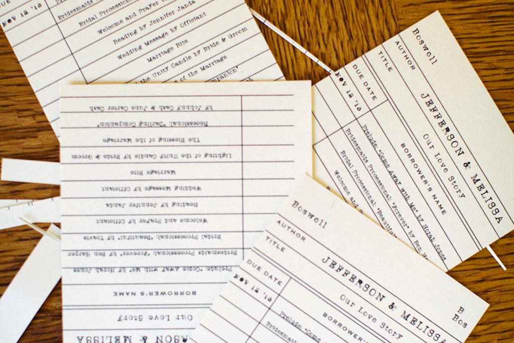 Make It Monday DIY Library Card Pocket Wedding Programs
