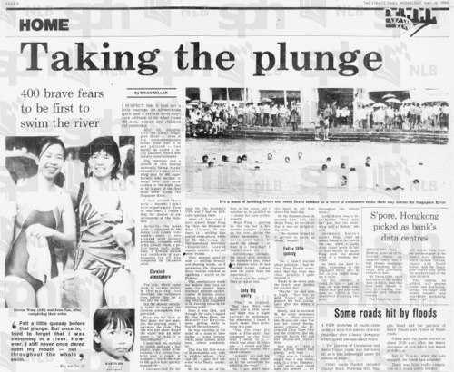 "The Straits Times, 16 May 1984, Page 8 - ""Taking the plunge"" in the Singapore River"