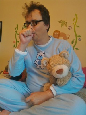 My baby blue teddy bear pyjamas from Cuddlz