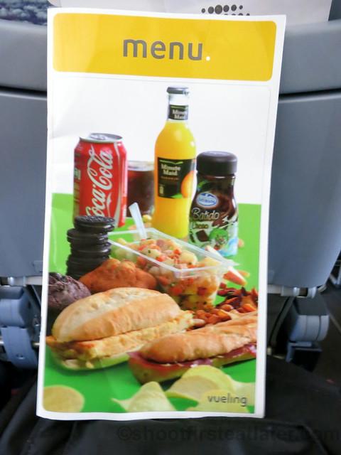 Vueling flight menu