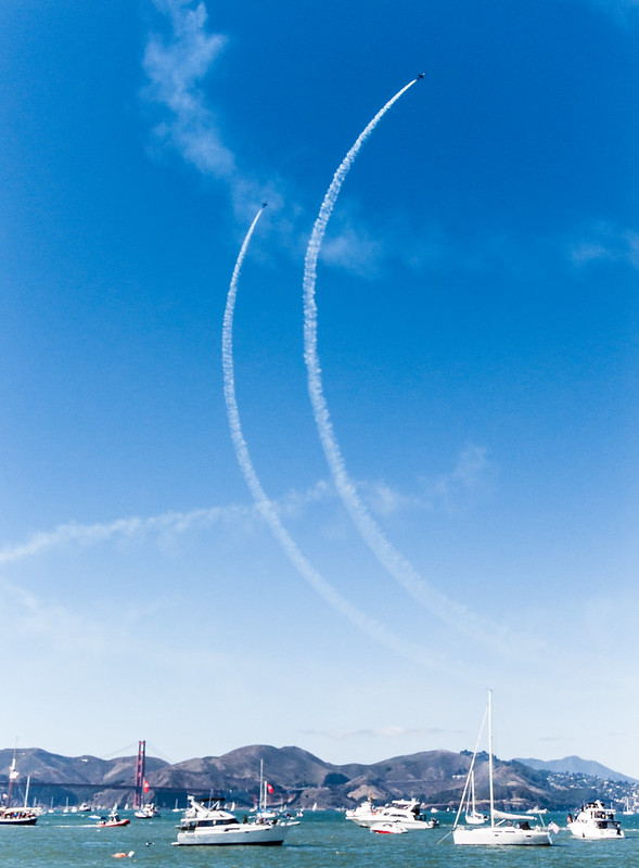 The Patriots Jet Team perform in Blue Angels air show