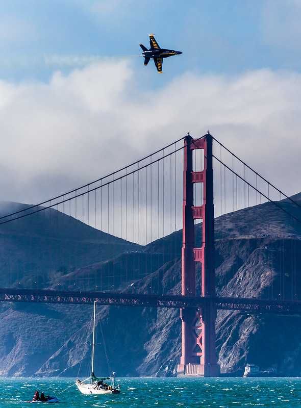 Blue Angels solo performing over the Golden Gate Bridge