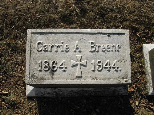 Carrie Breene tombstone, Woodland