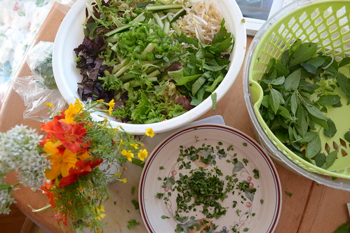 Vietnamese Herb Noodle Salad with Edible Flowers