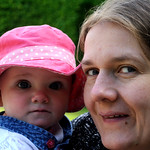 Baby and wife at Alnwick Gardens