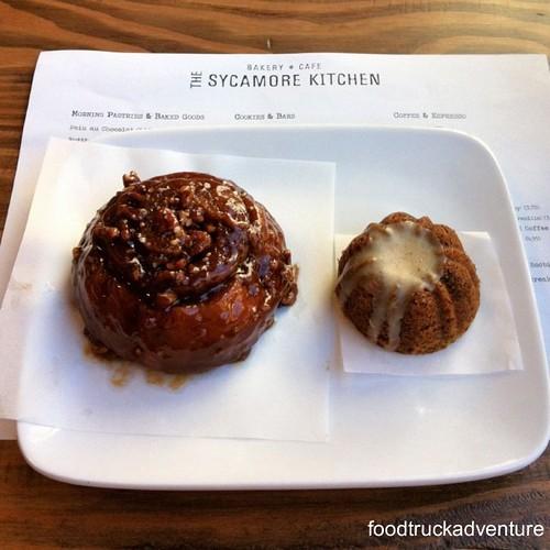 (left) Salted Caramel Pecan Bobka Roll; (right) Brown Butter Date Mini-Bundt