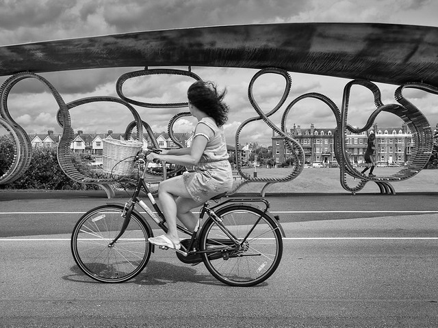Cycling along the promendade