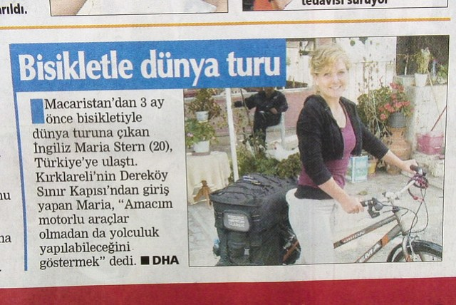 Newspaper article about Maria's ride