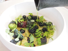 Pouring the broth: Berries and cucumber