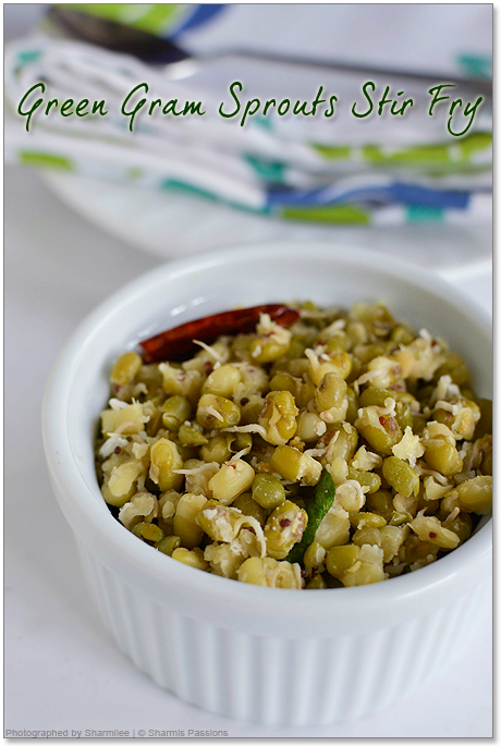 Sprouted Green Gram Stir Fry - Easy Sprouts Recipe ...