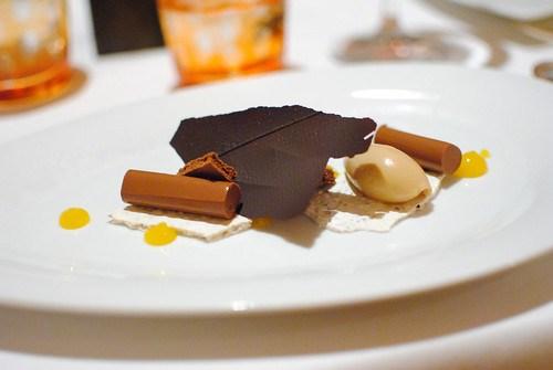 Chocolate Moelleux dacquoise, passion fruit, hazelnut sorbet