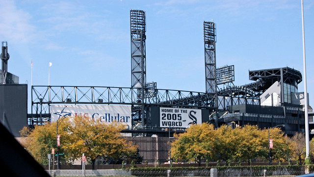 Shot of the White Sox stadium from the interstate