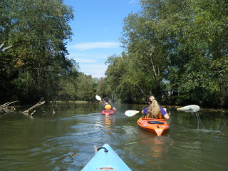 Ben and Caitlin paddling ahead